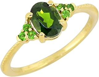 YoTreasure Chrome Diopside Solid 925 Sterling Silver Gold Plated Ring Genuine Gemstone Jewelry For Women or Girls Hypoalle...