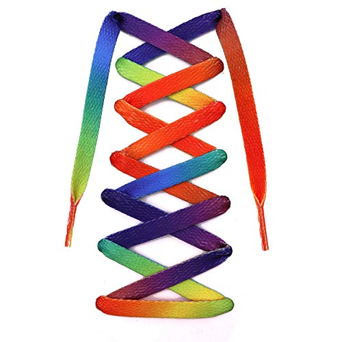 "Teeoff Flat Printed Shoelaces,Shoe Laces for Sneakers, Designer Fun Shoestring (63"", Rainbow Gradient)"