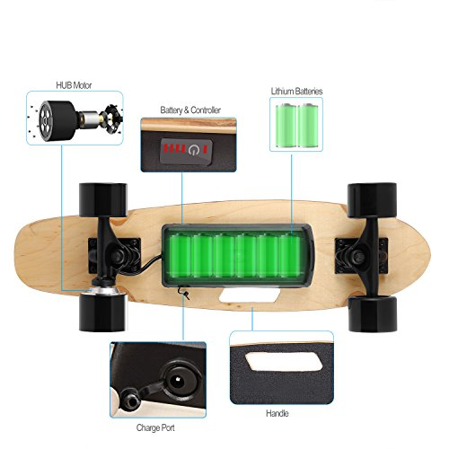 Aceshin Electric Skateboard with Remote Small for Kids Teens, 350W Motor, 12 MPH Top Speed