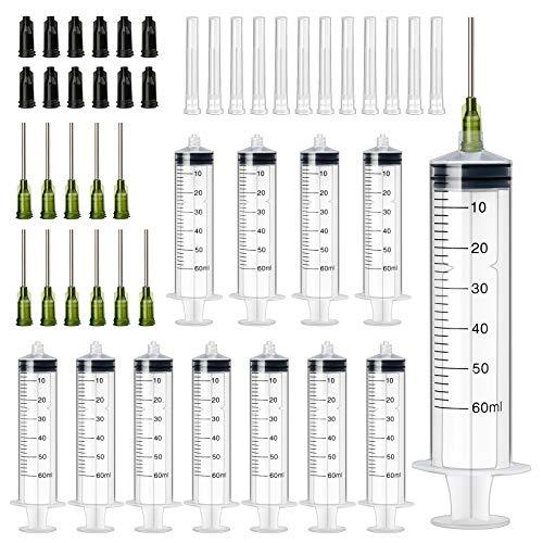 XINDA 60ml Spritze mit 14G 1 Zoll Nadeln mit stumpfer Spitze für den industriellen Gebrauch Plastikspritzen für den industriellen Gebrauch Spritzen mit Aufbewahrungskappen (12Pack)