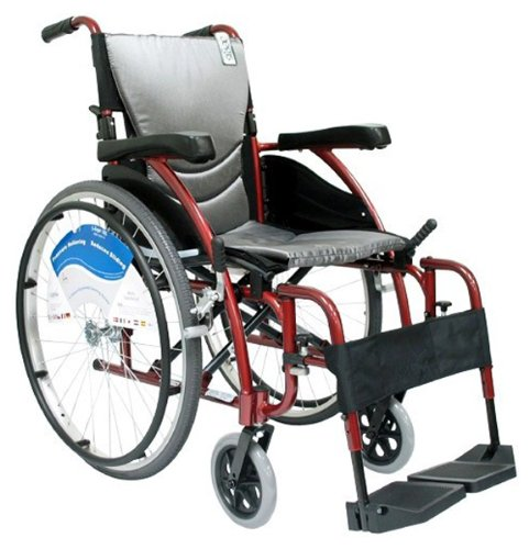 Karman Ergonomic Wheelchair in 18' Seat and Quick Release Axles, Red Frame