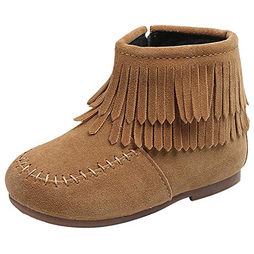 Infant Baby Toddler Girl Tassel Martin Boots Snow Boots 1-6 Years Old,Kids Winter Fashion Flock Zipper Warm Shoes (18-24 Months, Brown)