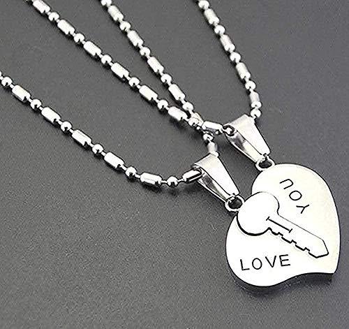 CCXXYANG Co.,ltd Necklace Necklace 2Pcs / Set Couple Jewelry Pendants I Love You Matching Hearts Key Stainless Steel Necklace