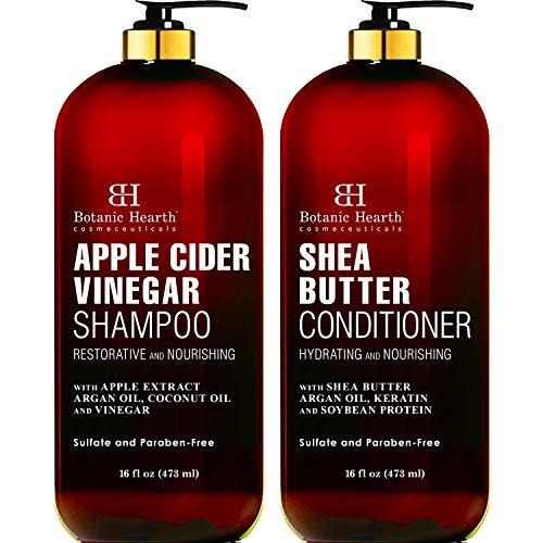 BOTANIC HEARTH Apple Cider Vinegar Shampoo and Shea Butter Conditioner Set - Color Safe - Sulfate...