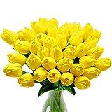 CattleyaHQ Künstliche Tulpen-Blumen, 10pcs Real Touch Latex-Blumen-Tulpen mit Blättern, Elegante Dekoration für Brauthochzeits-Bankett-Partei, Hauptküche (Gelb)