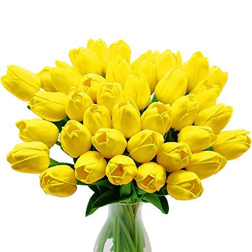 Fiori di Tulipano Artificiale, 10 Pezzi di Fiori in Lattice con Tocco Reale Tulipani con Foglie, Decorazione Elegante per Banchetti Nuziali, Cucina Domestica (Giallo)