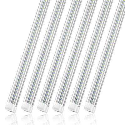 (Pack of 12) SHOPLED Linkable LED Utility Shop Lights for Garage, 4FT, 36W, 3600lm, 6000K, T8 Light Tube, Integrated Single Fixture, Cool White, V Shape, Garage, Basement, Plug and Play