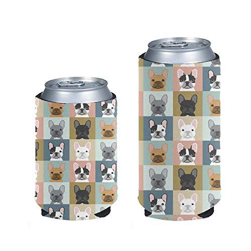 Pizding Boston Terrier - Soporte para latas de cerveza en blanco (2 unidades)