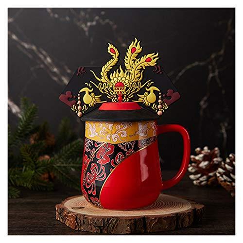 FOLA Dragón y Phoenix Taza Retro Dragon Cap Phoenix Crest Taza de café Emperor Emperatriz Taza Taza con Tapa de té de cerámica 11.8oz (Color : Empress)