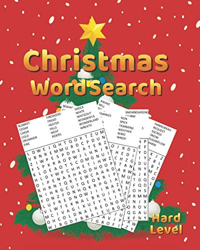 Christmas Word Search Hard Level: The Ultimate Brain Exercise Christmas Word Search Puzzle Book for Adults and Kids