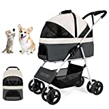 Dog/Cat/Pet Stroller for Small-Medium Pet, 3-in-1 Luxury Travel Carriage/Car Seat/Stroller) Storage Basket with Detach Carrier Suspension System/Link Brake/One-Hand Fold, Max. Loading 44 LBS (Gray)