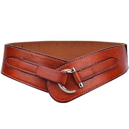 Cheerlife Damen Leder Gürtel 5cm Breiter Hüftgürtel Vintage Taillengürtel für Kleider Mantel (Braun)