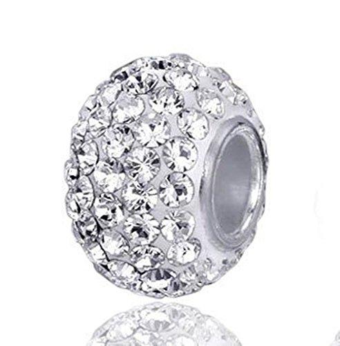Andante-Stones 925 Sterling Silber Kristall Bead Charm White Princess Element Kugel für European Beads + Organzasäckchen
