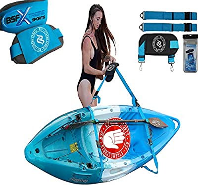 BSF-XSports Kayak Carrying Stand Up Paddle Board Accessories Strap Wall Rack Storage - Kayak Wall Hanger, Kayak Storage Rack with Bag