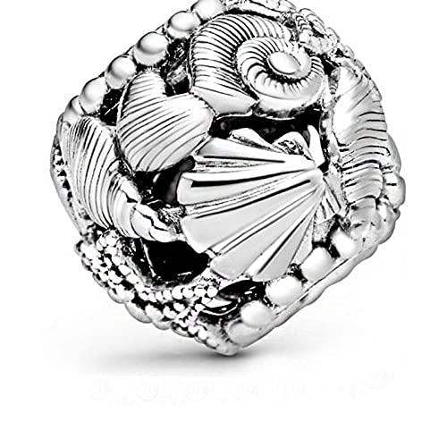 Pandora 925 colgante de plata esterlina DIY conchas de estrella de mar caladas reales abalorios de corazón abalorios se ajustan a pulseras Wo n joyería