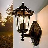 Gold Antike Außenlampe mit Bewegungsmelder PARIS Laternenform Sensorleuchte Wandlampe Außen Balkon Tür