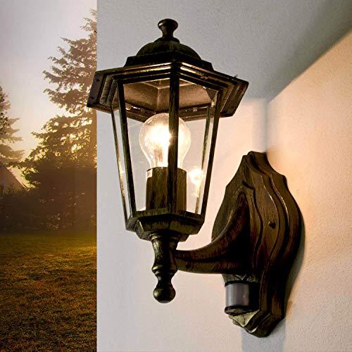 PARIS Rustikale Außenleuchte mit Bewegungsmelder in Gold Antik IP44 E27 Vintage Wandlampe Balkon Hof