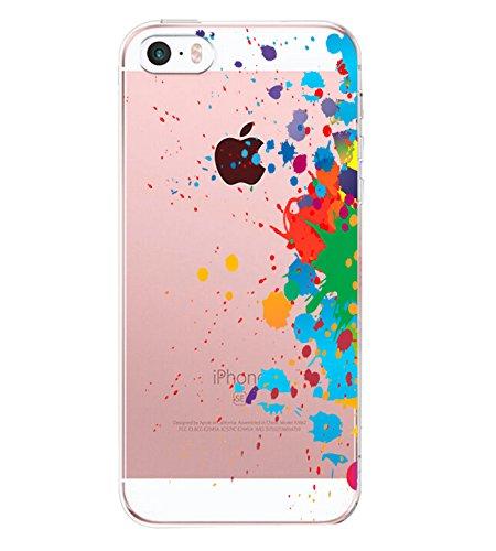 Aisoar - Funda para iPhone 5 iPhone 5S, de TPU con diseño de flores y rosas Pigmento M