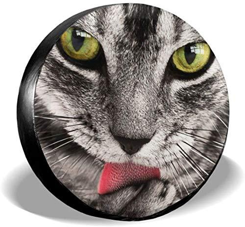 MODORSAN Cute Tabby Cat Licking Paw Cubierta de Rueda de Repuesto de poliéster Cubiertas de Rueda universales para Jeep, Remolque, RV, SUV, camión, Accesorios, 16 Pulgadas
