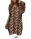 Style Dome Jerseys de Punto Mujer Largos Leopardo Cuello V Manga Larga Otoño Vestidos Sudadera Casual Tallas Grandes Suéter para Mujer Oversize Pullover D-Amarillo XXL