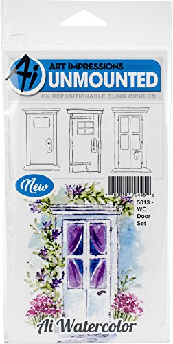 Art Impressions Watercolor Cling Rubber Stamps Door, Multicolor