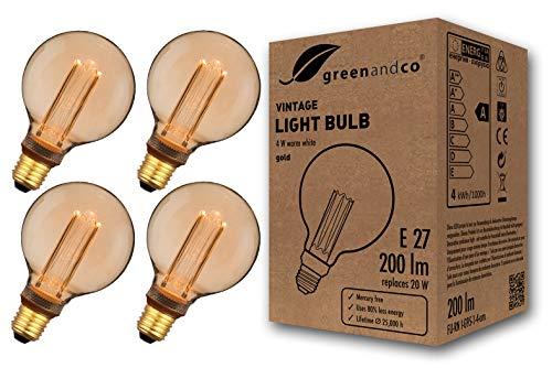 4x greenandco® Vintage Design LED Lampe zur Stimmungsbeleuchtung E27 G95 Edison Glühbirne 4W 200lm 1800K extra warmweiß 320° 230V flimmerfrei nicht dimmbar 2 Jahre Garantie