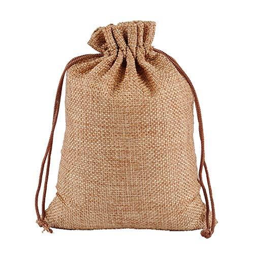 JIHUOO 10 Stücke Jutesäckchen Jute Sack Jutebeutel Tasche Säckchen Geschenksäckchen für Hochzeitsfeier 20 x 30 cm