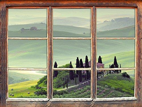 Stil.Zeit Möbel Wunderschöne Toskana Landschaft Fenster 3D-Wandsticker Format: 92x62cm Wanddekoration 3D-Wandaufkleber Wandtattoo
