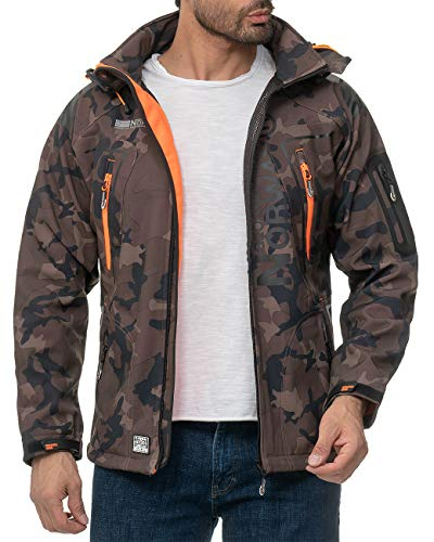 Geographical Norway Herren Outdoor Jacke Techno-bans Camo - Khaki-Orange XXL