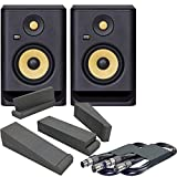 KRK Rokit RP5 G4 Active Studio Monitors Bundle - Cables and Isolation Pads Included