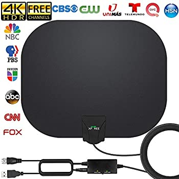 TV Antenna - Amplified HD Indoor Digital TV Antenna Long 250 Miles Range Antenna Support 4K 1080p Fire Stick and All Television Indoor Smart HDTV Antenna for Local Channels VHF UHF-17ft Coax Cable