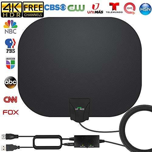 TV Antenna - Amplified HD Indoor Digital TV Antenna Long 250 Miles Range Antenna Support 4K 1080p Fire Stick and All Television, Indoor Smart HDTV Antenna for Local Channels VHF UHF-17ft Coax Cable