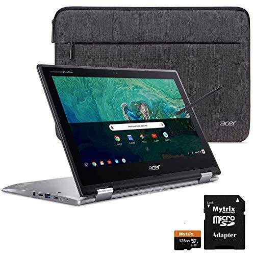 Acer Chromebook Spin 11 2-in-1 Convertible Touchscreen Laptop 11.6' HD IPS, Intel Celeron N3350, 4GB DDR4 RAM, 32GB eMMC w/ Mytirx 128GB SD Card, WiFi, Pen, Sleeve, 10 Hrs Battery