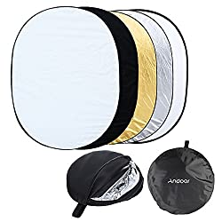Andoer folding reflector / light reflector, portable, foldable, for photo studios, with carrying case with zipper, with 5 surfaces, 60 cm