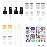 Kare & Kind Replacement Caps and Fine Mist Sprayer for Essential Oil Bottles - 4x Fine Mist Sprayer, 4x Sealing Orifice Reducer Caps, 4x Rolling Caps (Essential Oil Bottle Tops)