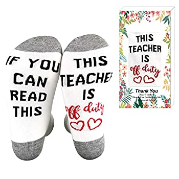 XYSOCKS If You Can Read This Teacher is Off Duty Funky Socks Teacher s Gift for Holiday Grey Large…  White