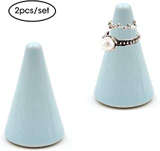 Airmoon Ceramic Ring Holder Tower for Jewelry,Jewelry Ring Holder Cone Shaped Display Stand for Engagement or Wedding Rings (Blue)