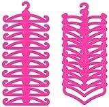 Miunana 20x Perchas de Plástico Rosado Ecorado con la Letra B y Corazón Accesorios con Ropa para 11.5 Pulgada 28 - 30 CM Muñeca