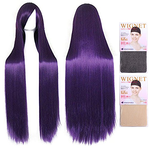 Purple dark purple CaseEden original 4-piece set (+ stand + wig hair net two) CaseEden depth [cosplay wig 100cm heat-resistant high-quality Genuine] super long straight (japan import)