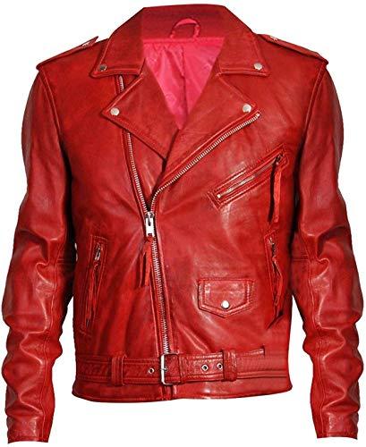Iconic Motorrad Lederjacke Brando's Style Motorrad Lederjacke Rock Star Biker Lederjacke Classic Rider Lederjacke Gr. XL, Moto Red Brando Echtleder