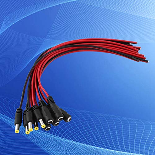 Emoshayoga Cables de CC de cámara de Seguridad con Enchufe Macho y Hembra para TV