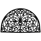 J & M Home Fashions Wrought Iron Half Round Natural Rubber Doormat, 24-Inch