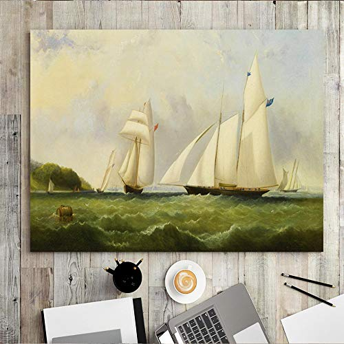 wZUN Home Decoration Print Canvas Wall Art Horizontal Rectangle Oil Painting Sea Sailing Ship 50x70 Frameless