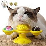 OneBarleycorn - Juguetes para Gatos,Windmill Cat Toy, Cepillo de pelo para gatos rascadores y cosquillas, Juguete interactivo de burlas giratorias para gatos, Juguete rascador de cosquillas para gatos