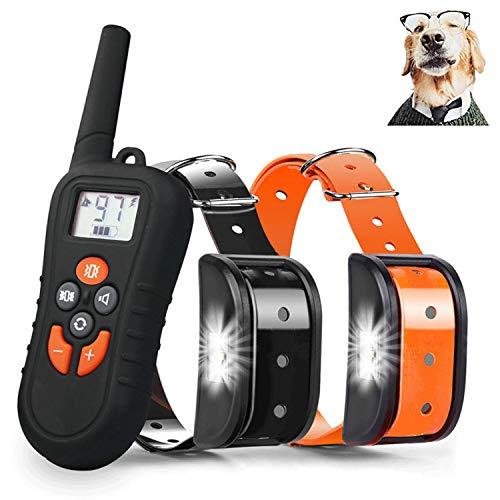 JJOBS Collar de Adiestramiento para Perros Sin Descargas Eléctricas con Rango de 500 Metros, Funciones Vibración, Sonido y Luz LED, Impermeable y Recargable (2 Perro)