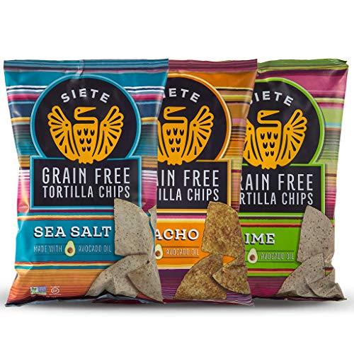 Siete Grain Free Tortilla Chips Mix, 1 Sea Salt, 1 Lime, Nacho, 5 oz bags, 3-Pack