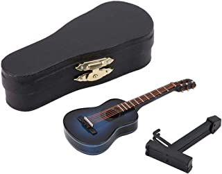 Miniature Guitar Model Wooden Musical Instrument Display with Stand Support and Case Dollhouse Accessories Small Craft Orn...