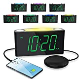Loud Alarm Clock with Vibrating for Heavy Sleeper/Deaf/Hearing Impaired,Large LED Display with Dimmer, 7 Colored Night Light, 2 USB Charging Ports,Plug-In Clock&Battery Backup