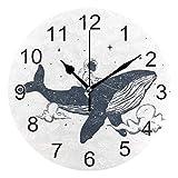 Gokruati Reloj de Pared silencioso,Reloj de Cocina,Relojes de Cuarzo silencioso Que no Hace tictac,para Sala de Estar,dormitorios,(Diámetro: 25 cm),El Astronauta Vuela la Ballena en la Pared de Nubes