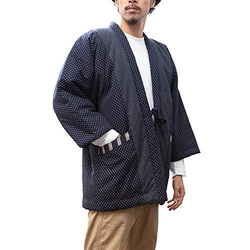 綿入れはんてん 男性用 ドビー織 あられ柄 LL(XL) 白あられ